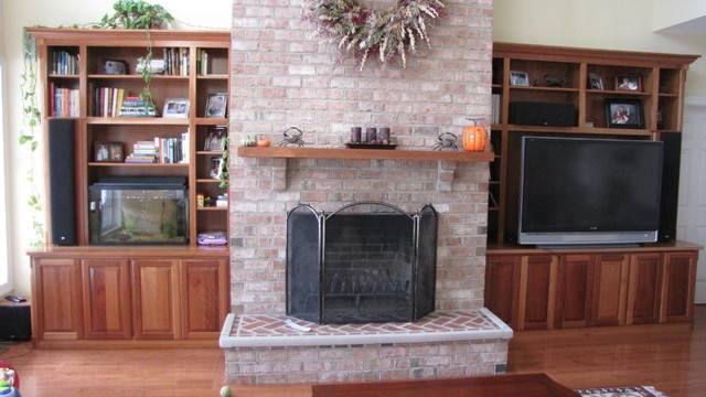 Built Cabinets Around Fireplace Contemporary