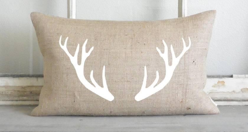 Burlap Collection White Antlers Pillow Cover Home