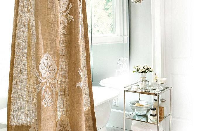 Burlap Crewel Damask Shower Curtain Ballard Designs