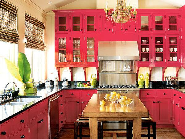 Cabinets Kitchen Red