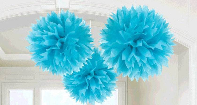 Caribbean Blue Engagement Party Hanging Fluffy Tissue