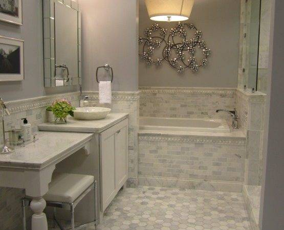 Carrera Marble Tiles Contemporary Bathroom Sherwin