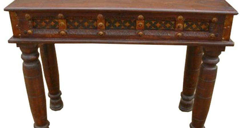 Carved Wood Brass Acent Hall Foyer Console Table