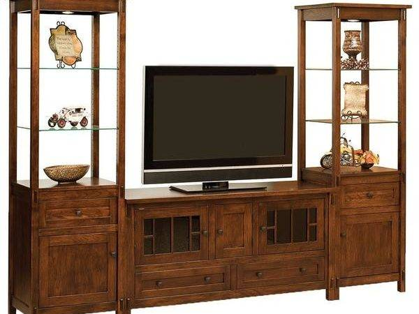 Centennial Open Media Wall Unit Amish Solid Wood