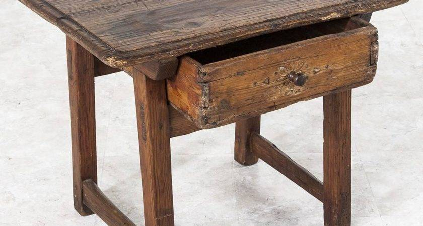 Century French Rustic Primitive Style Pine Side Table