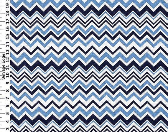 Chevron Fabric Navy Blue White Apparel Quilt