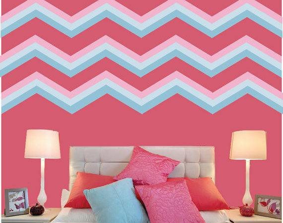 Chevron Wall Decals Fabric Decal Reusable Peel Stick