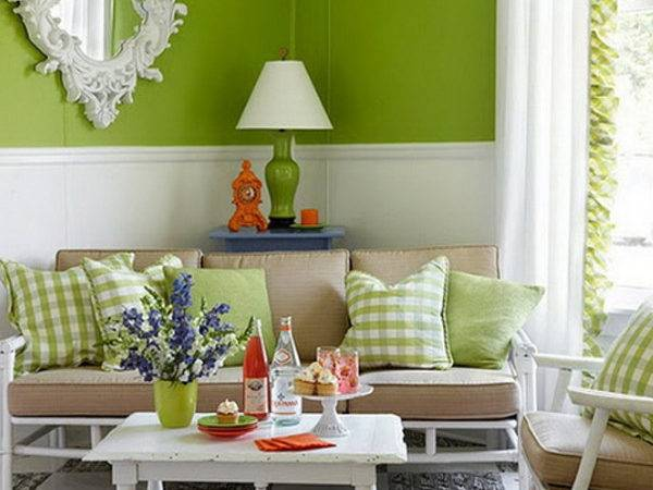 Chic Colorful Spring Living Room Green Themes