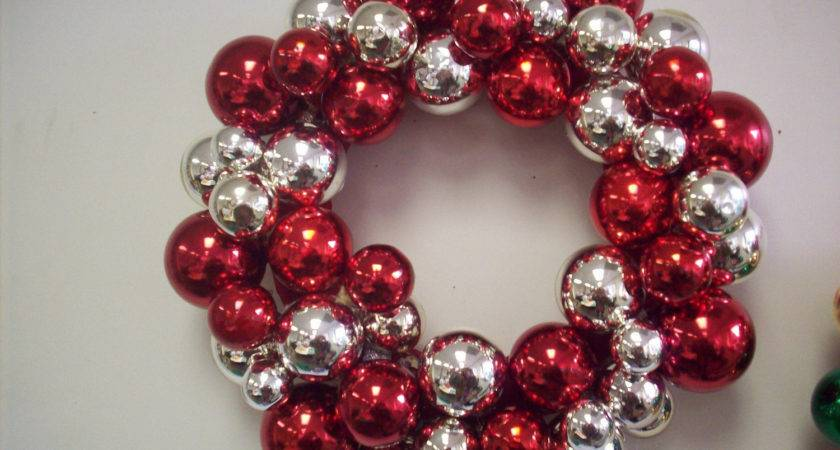 Christmas Red Silver Ornament Wreath