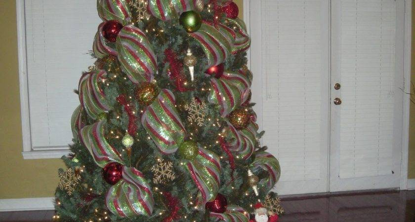 Christmas Tree Decorations Mesh Ribbons Happy Holidays