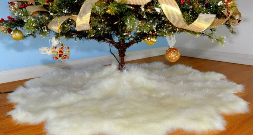 Christmas Tree Skirt Faux Fur Decors Sheepskins Pelts