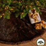 Christmas Tree Skirt Shaggy Faux Fur Round Design