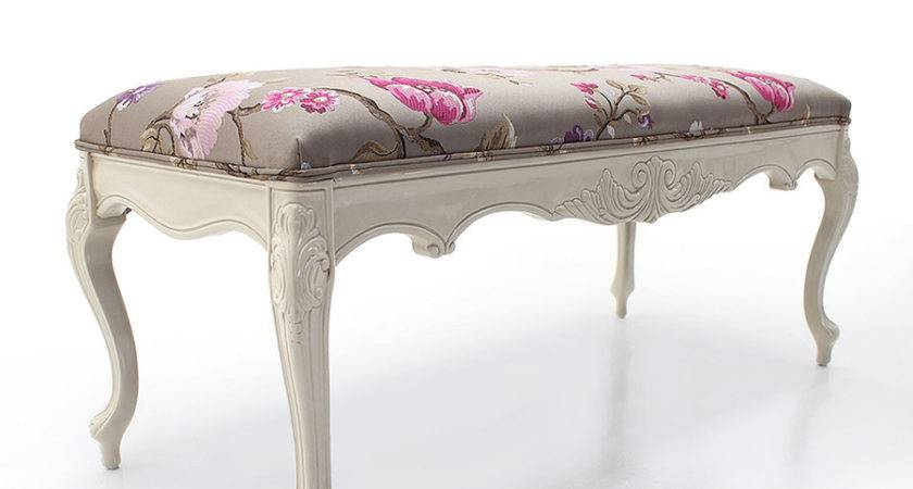 Classic Louis Style Upholstered Bench Seat Stool