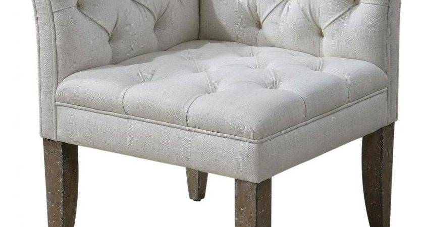 Classic Tufted Chesterfield Corner Chair Sofa Ivory White