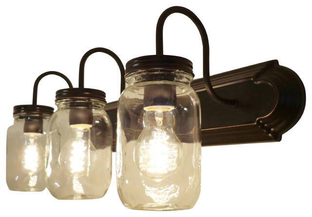 Clear Quart Mason Jar Vanity Farmhouse Bathroom