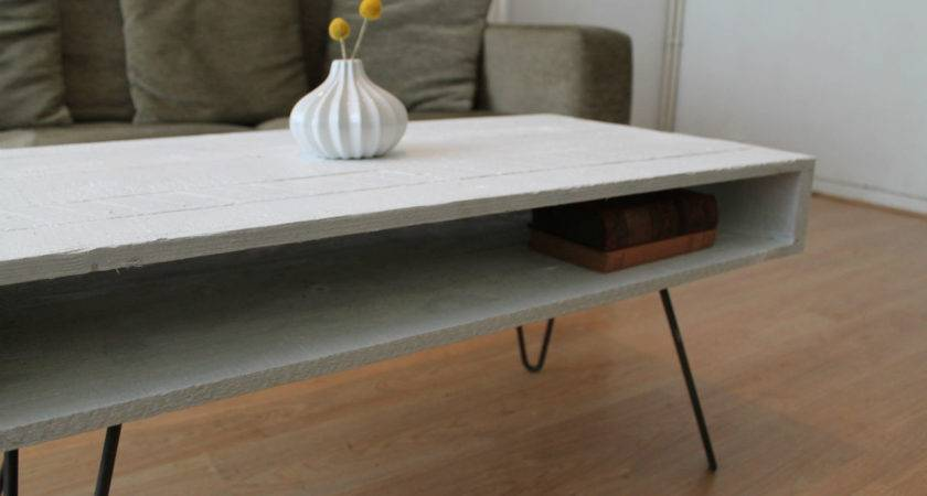 Coffee Table Hairpin Legs Solid White