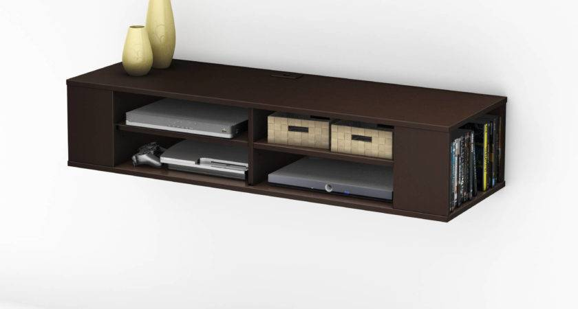 Compact Dark Brown Polished Solid Wood Media Shelf