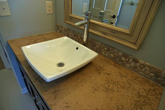 Concrete Bath Sinks Modern Vanity Tops Side