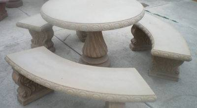 Concrete Cement Tan Colored Round Patio Picnic Table