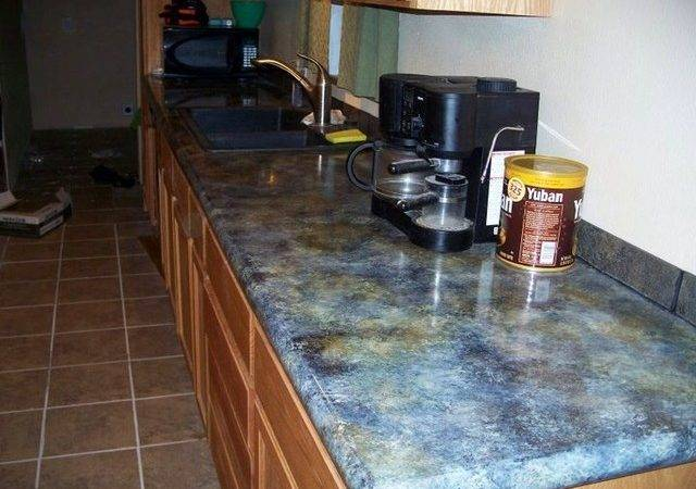 Concrete Countertop Overlay Applied Over Old Formica