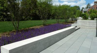 Concrete Seat Wall Sage Modern Landscape Boston