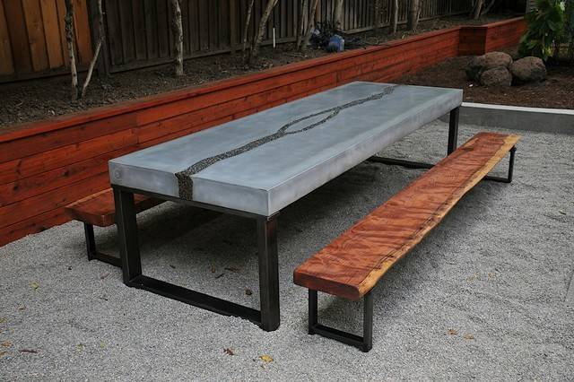Concrete Table Benches Modern Dining Sets San