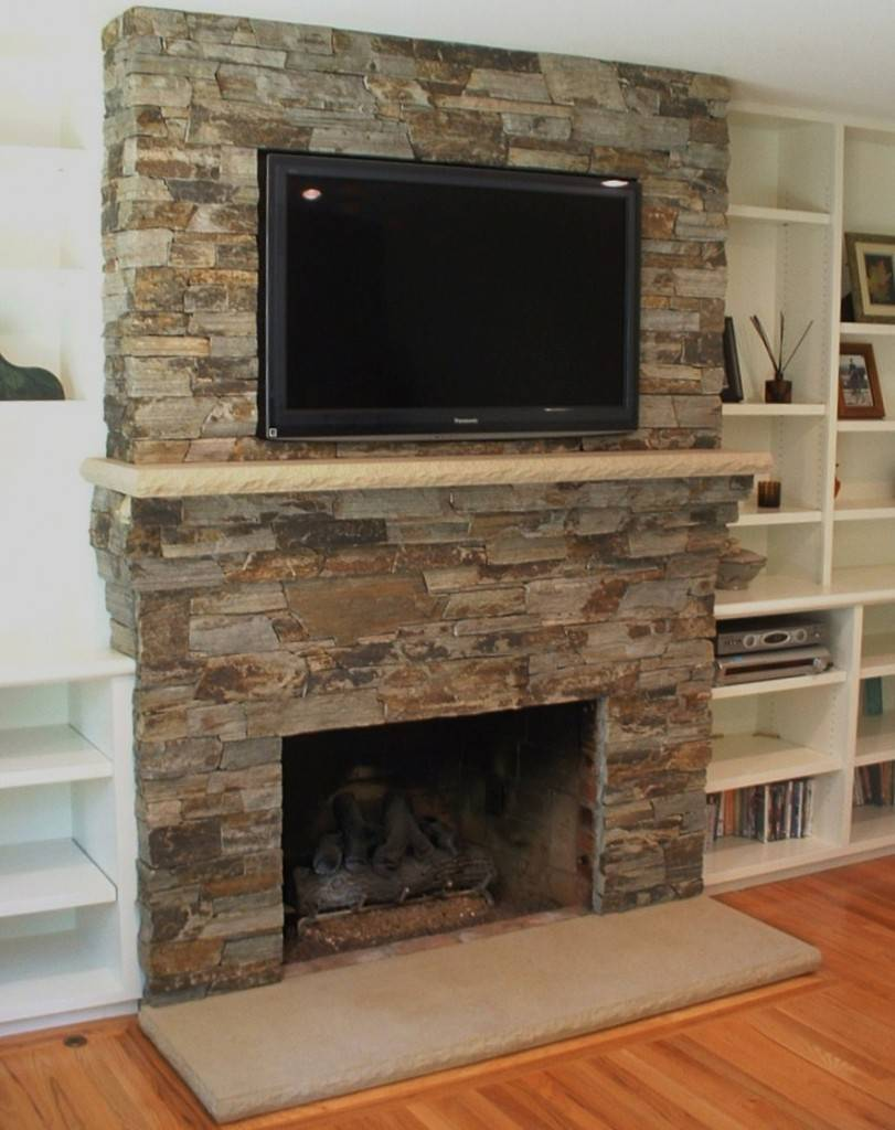 Contemporary Stone Fireplace Surround Frame Clean - Gabe ...