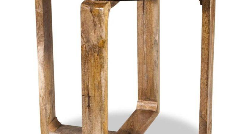 Contra Modern Mid Century Rustic Wood Side Table