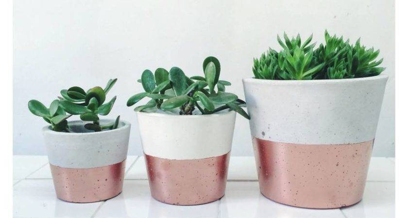 Copper Dipped Cement Planters Sort