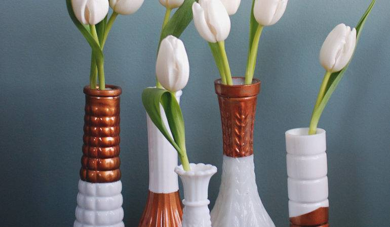Copper Dipped Milk Glass Vases Merrythought