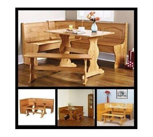 Corner Dining Set Kitchen Breakfast Nook Wooden Table