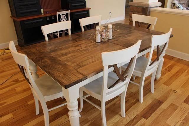 Country Wood Dining Room Set Rustic Round