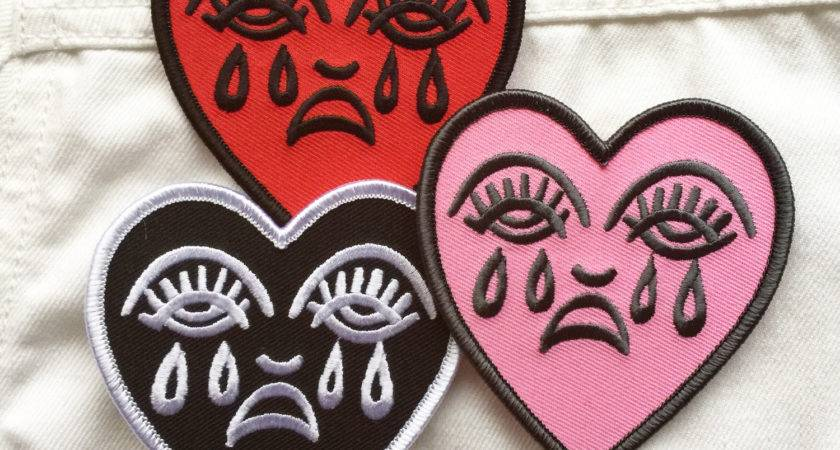 Crying Heart Embroidered Patch Iron
