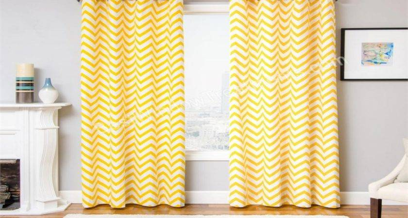 Curtains Drapery Yellow Chevron