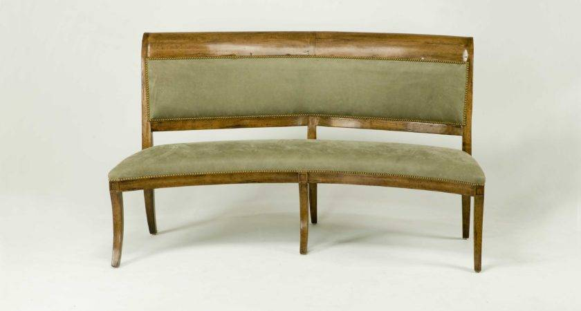 Curved Velvet Dining Banquette Light Brown Oak Wood