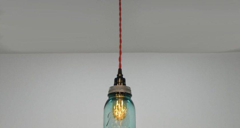 Custom Antique Aqua Ball Mason Jar Hanging Pendant Light