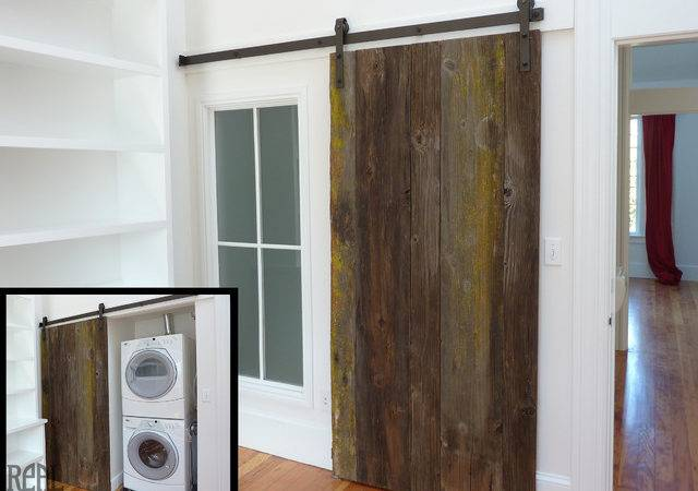 Custom Rustic Plank Barn Doors Traditional Laundry