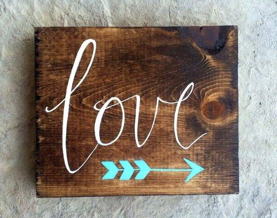 Custom Small Hand Painted Wooden Love Sign