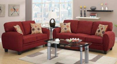 Daisy Sofa Loveseat Burgundy Linen Set Pillows