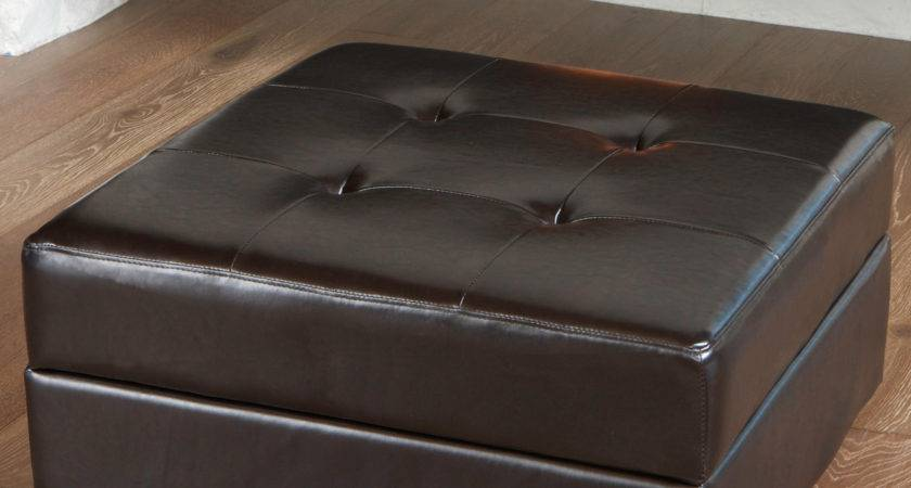 Darby Home Fryth Leather Upholstered Storage Ottoman