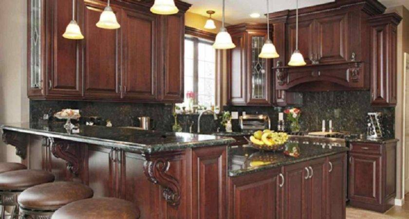 Dark Brown Kitchen Cabinets Black Appliances