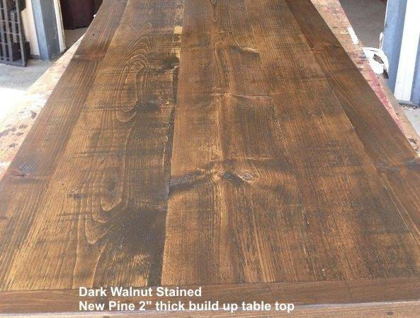 Dark Walnut Stained Pine Table Top Chairman