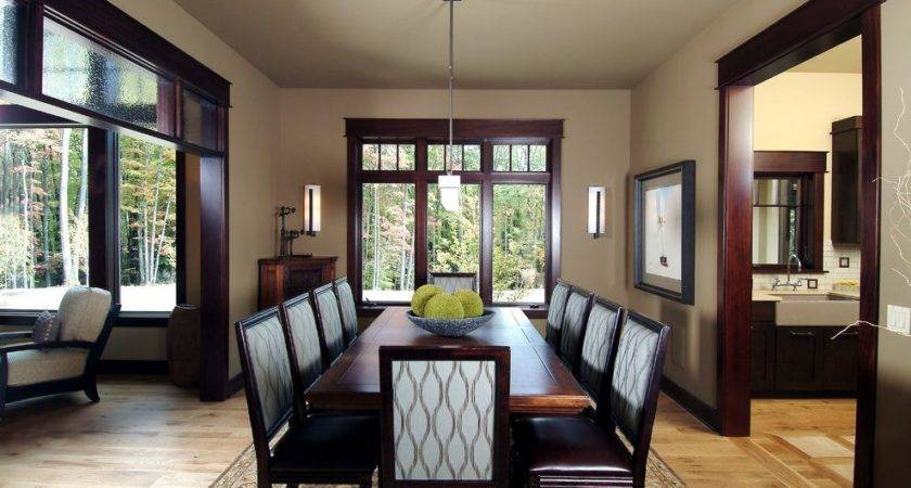 Dark Wood Trim Dining Room Contemporary Stained