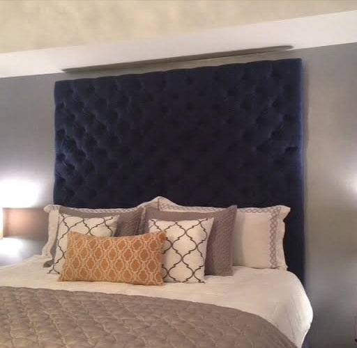 Diamond Tufted Velvet Headboard King Extra Tall Legs
