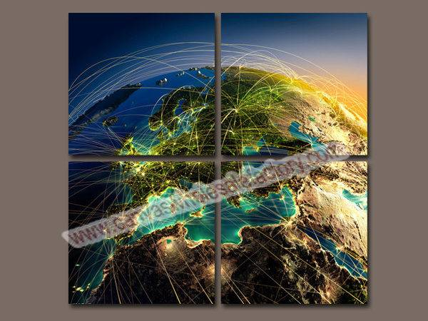 Digital Painting Canvas Prints Earth Map