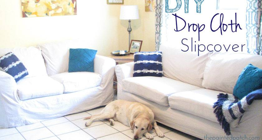 Diy Drop Cloth Slipcover Tutorial Painted Patch