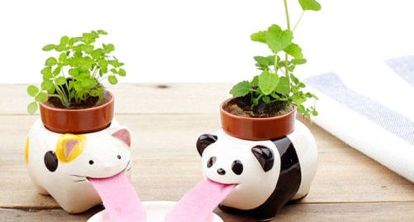 Diy Mini Ceramic Animal Tougue Self Watering Potted Plant