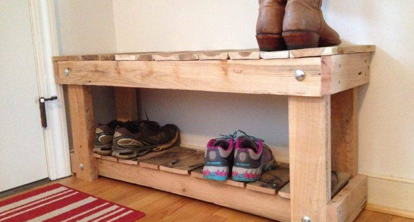 Diy Oak Wood Shoe Bench Placed Small Entryway
