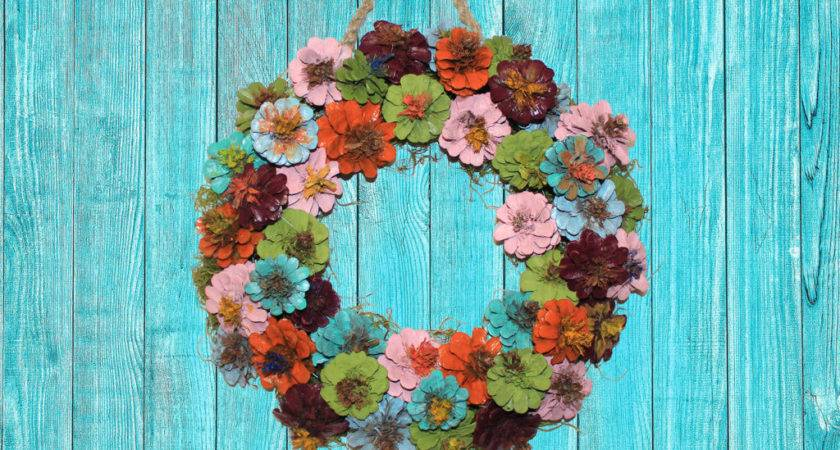 Diy Painted Pinecone Wreath Gulley Greenhouse Garden