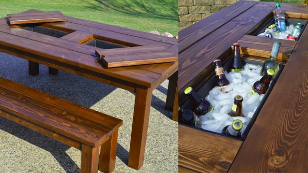 Diy Patio Table Sports Built Drink Cooler